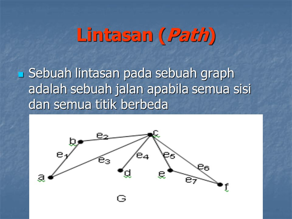 Lintasan (Path) Sebuah lintasan pada sebuah graph adalah sebuah jalan apabila semua sisi dan semua titik berbeda.
