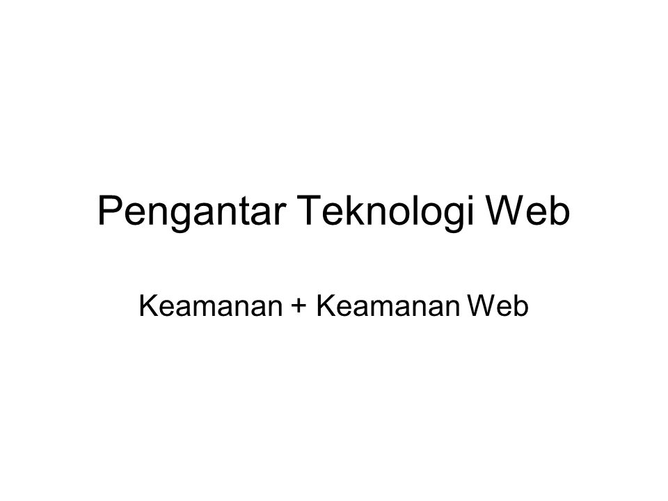 Pengantar Teknologi Web