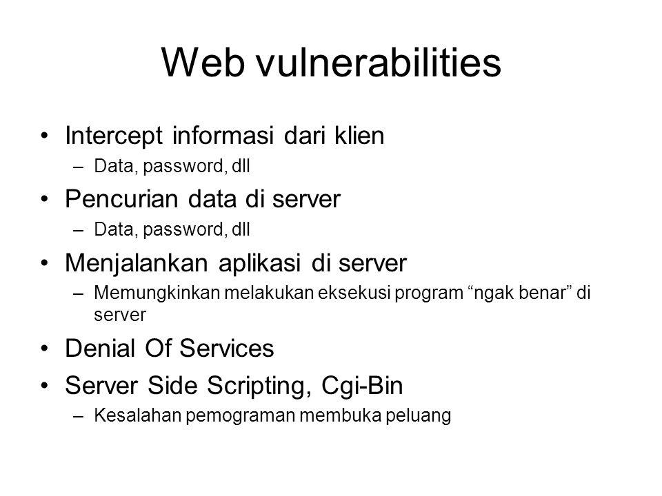 Web vulnerabilities Intercept informasi dari klien