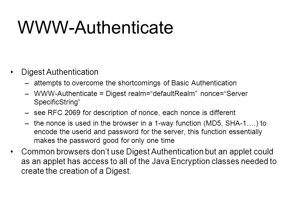 WWW-Authenticate Digest Authentication