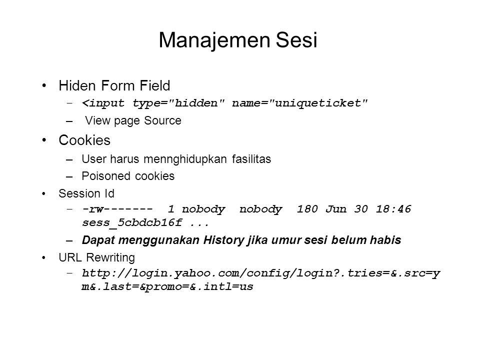 Manajemen Sesi Hiden Form Field Cookies