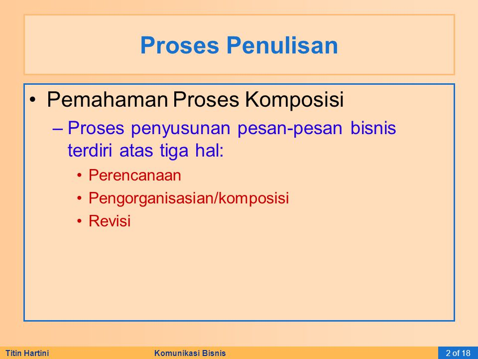 Proses Penulisan Pemahaman Proses Komposisi