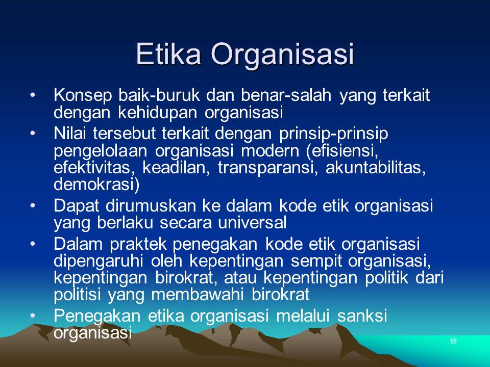 Etika Organisasi Konsep baik-buruk dan benar-salah yang terkait dengan kehidupan organisasi.