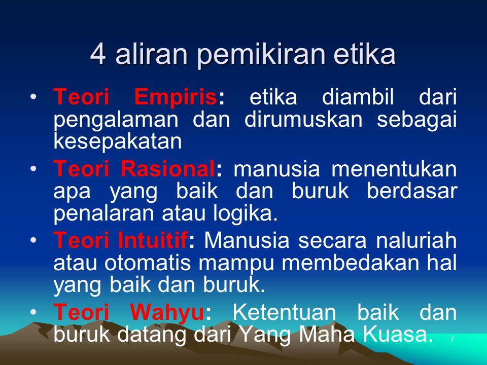 4 aliran pemikiran etika