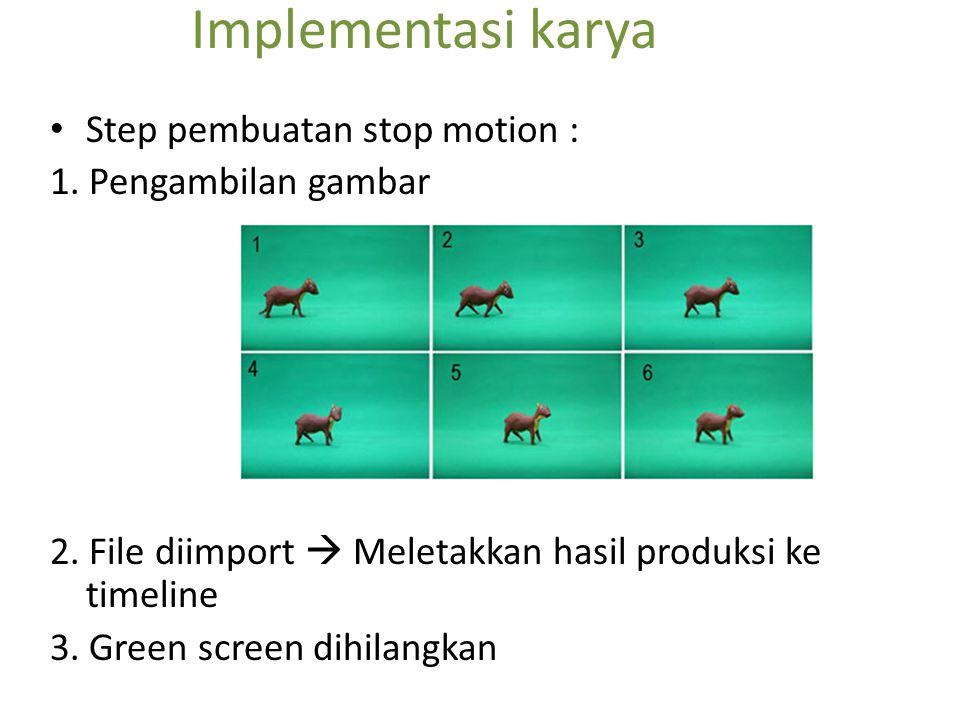 Implementasi karya Step pembuatan stop motion : 1. Pengambilan gambar
