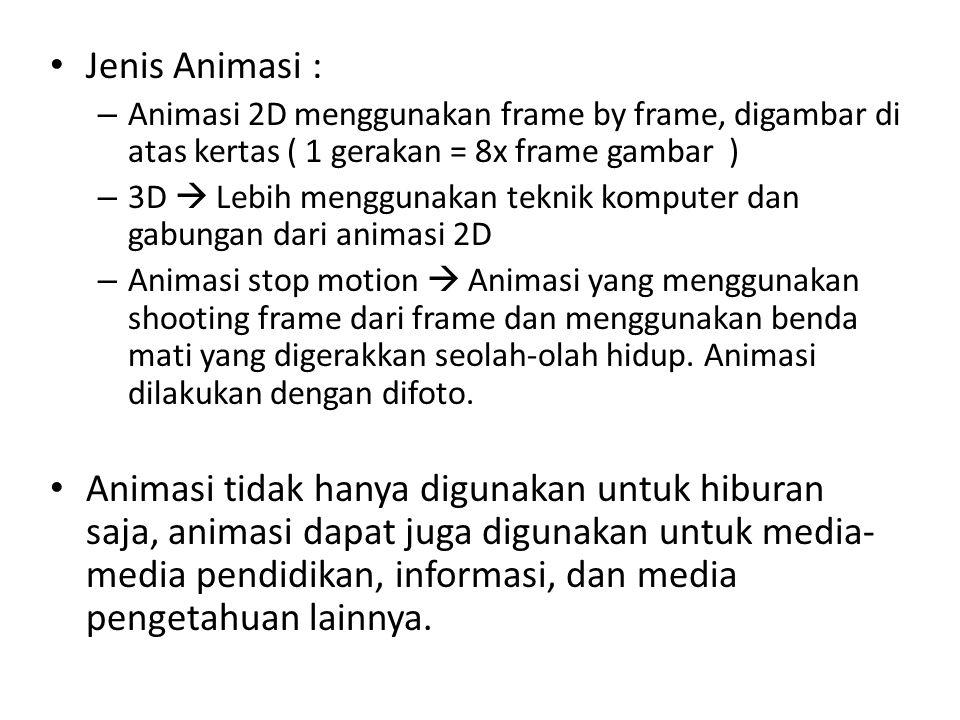 Jenis Animasi : Animasi 2D menggunakan frame by frame, digambar di atas kertas ( 1 gerakan = 8x frame gambar )