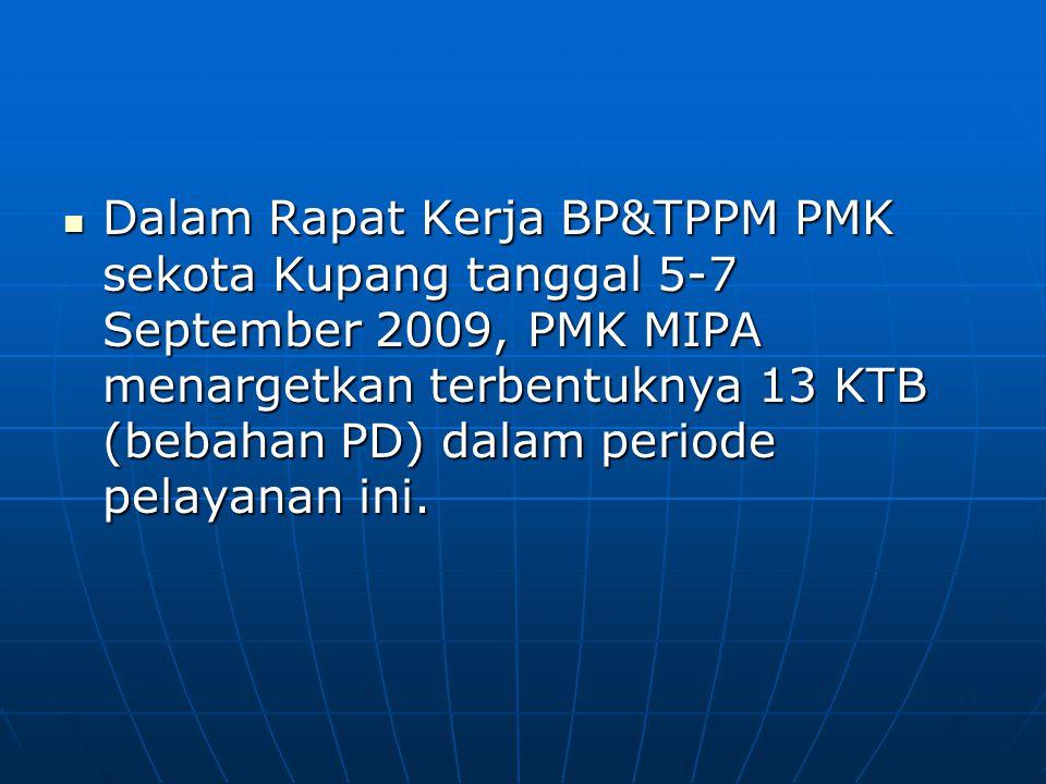 Dalam Rapat Kerja BP&TPPM PMK sekota Kupang tanggal 5-7 September 2009, PMK MIPA menargetkan terbentuknya 13 KTB (bebahan PD) dalam periode pelayanan ini.