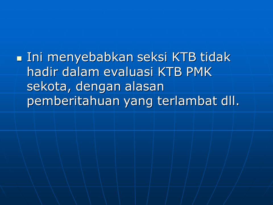 Ini menyebabkan seksi KTB tidak hadir dalam evaluasi KTB PMK sekota, dengan alasan pemberitahuan yang terlambat dll.