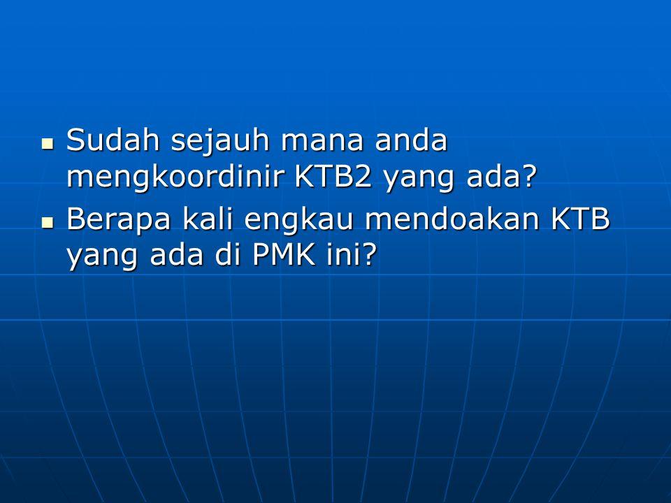 Sudah sejauh mana anda mengkoordinir KTB2 yang ada
