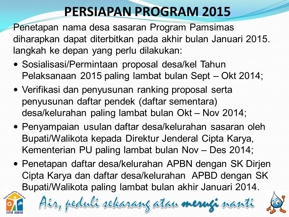 PERSIAPAN PROGRAM 2015