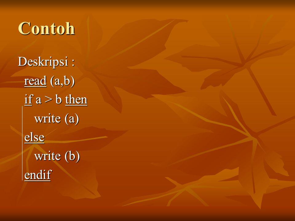 Contoh Deskripsi : read (a,b) if a > b then write (a) else