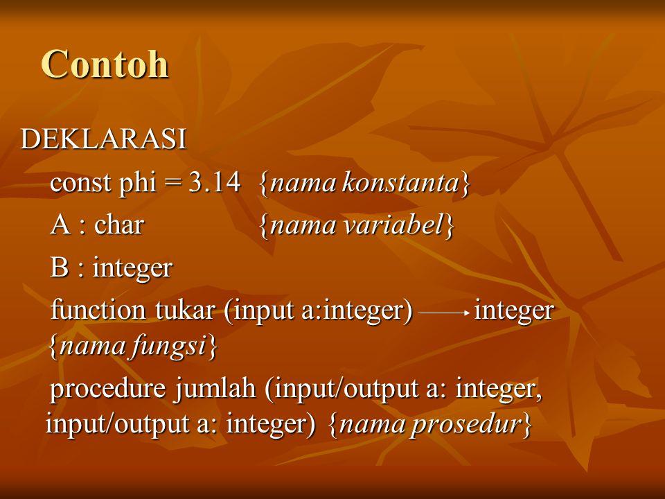 Contoh DEKLARASI const phi = 3.14 {nama konstanta}