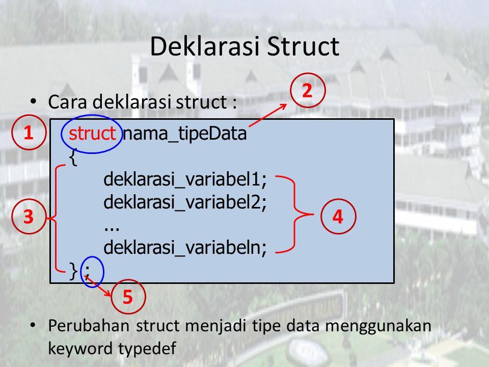 Deklarasi Struct 2 Cara deklarasi struct : 1 3 4 5