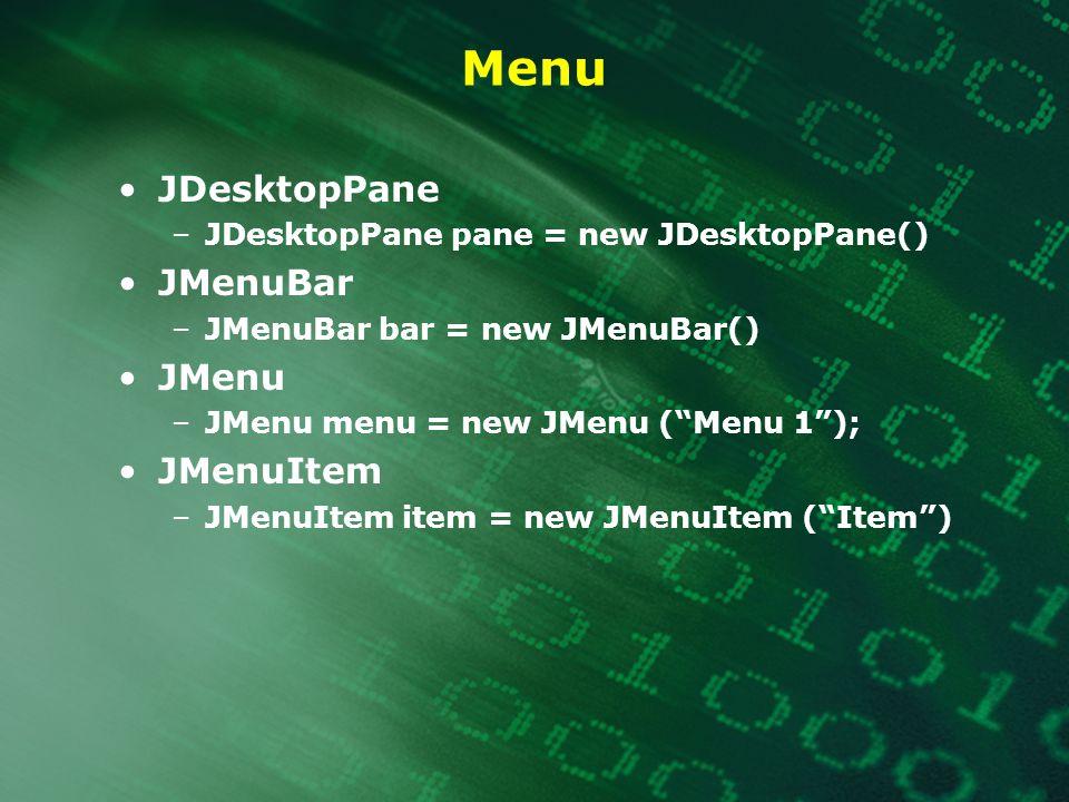 Menu JDesktopPane JMenuBar JMenu JMenuItem