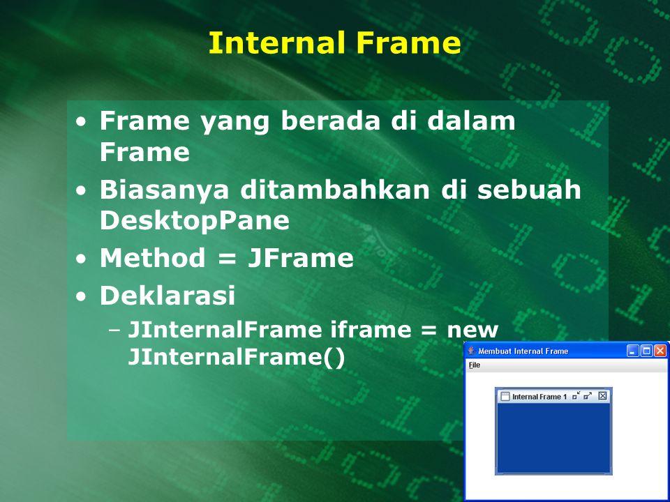 Internal Frame Frame yang berada di dalam Frame