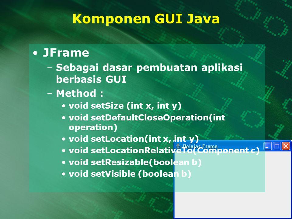 Komponen GUI Java JFrame Sebagai dasar pembuatan aplikasi berbasis GUI