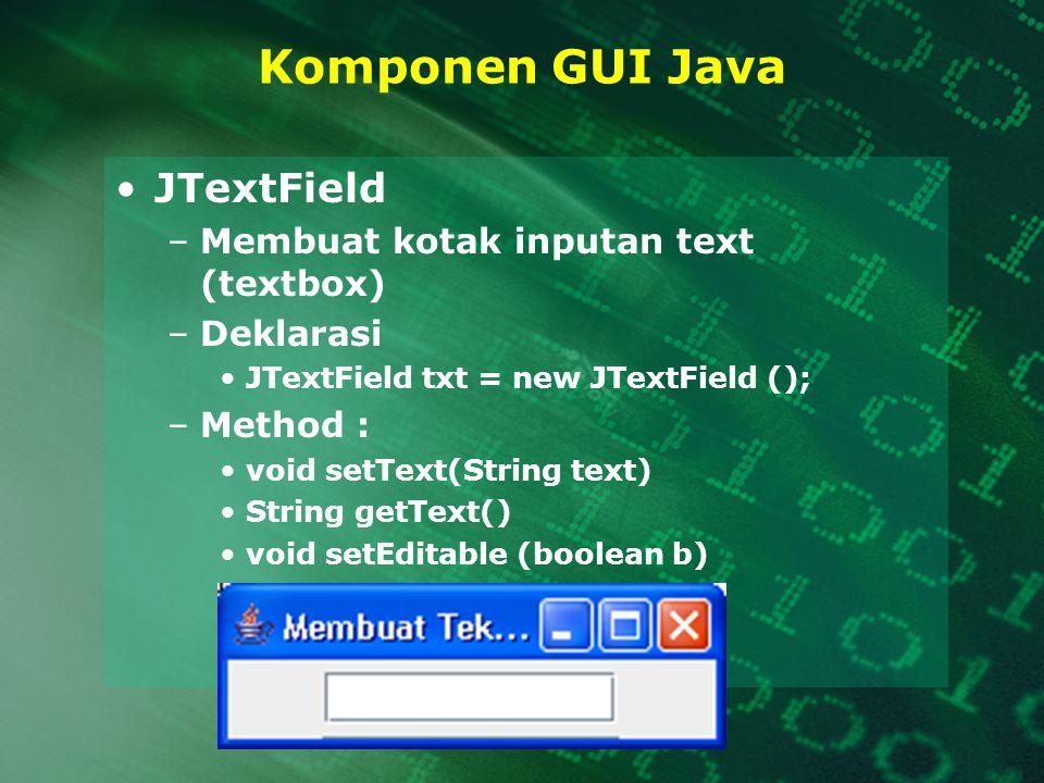 Komponen GUI Java JTextField Membuat kotak inputan text (textbox)