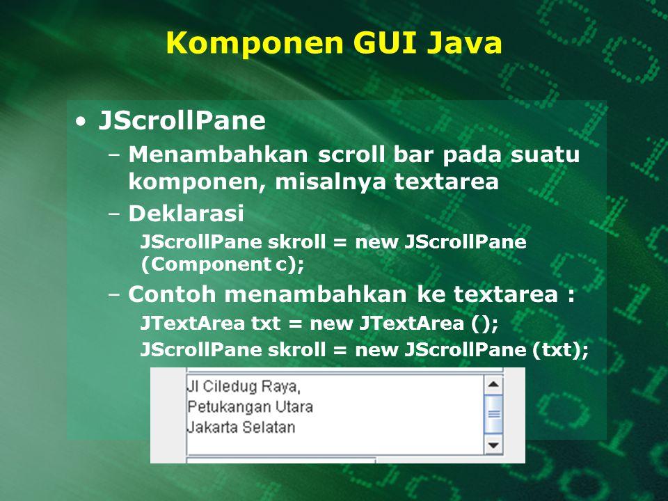 Komponen GUI Java JScrollPane