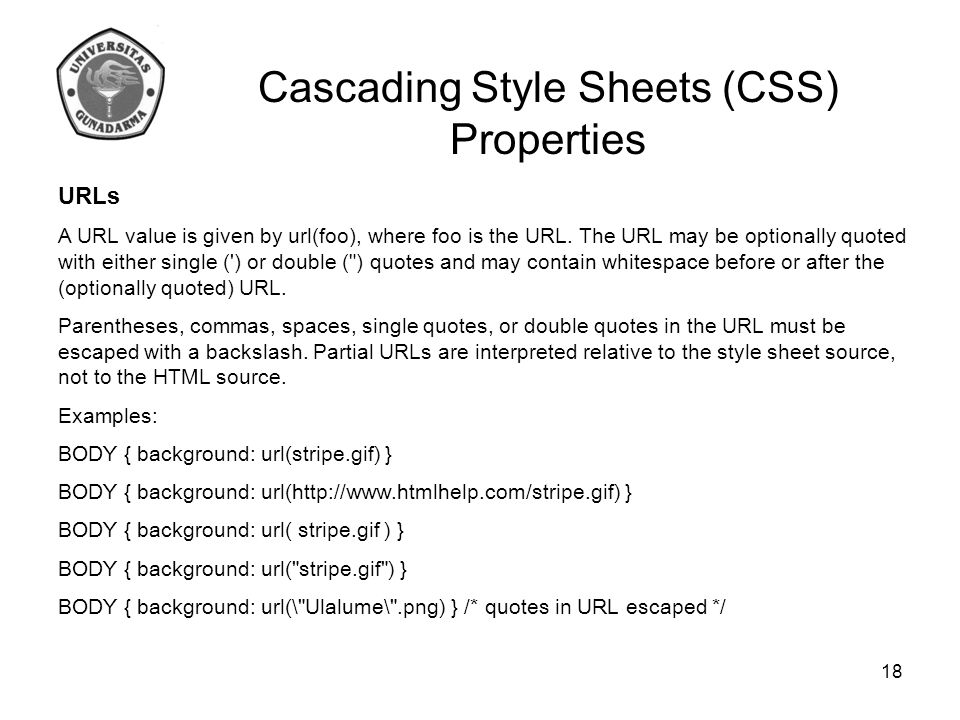 Cascading Style Sheets (CSS) Properties