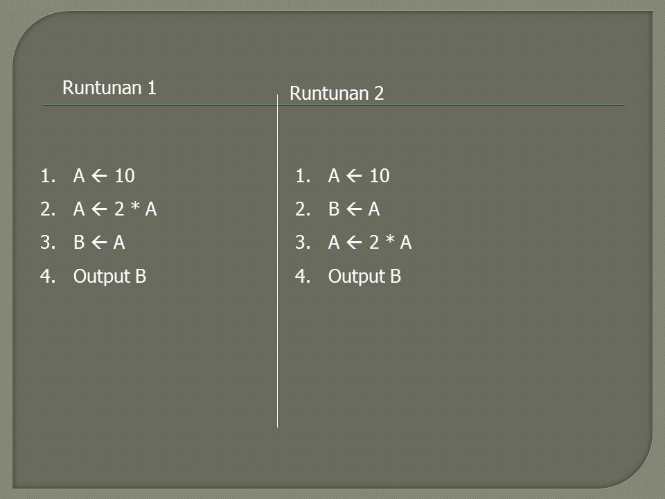 Runtunan 1 Runtunan 2 A  10 A  2 * A B  A Output B A  10 B  A A  2 * A Output B