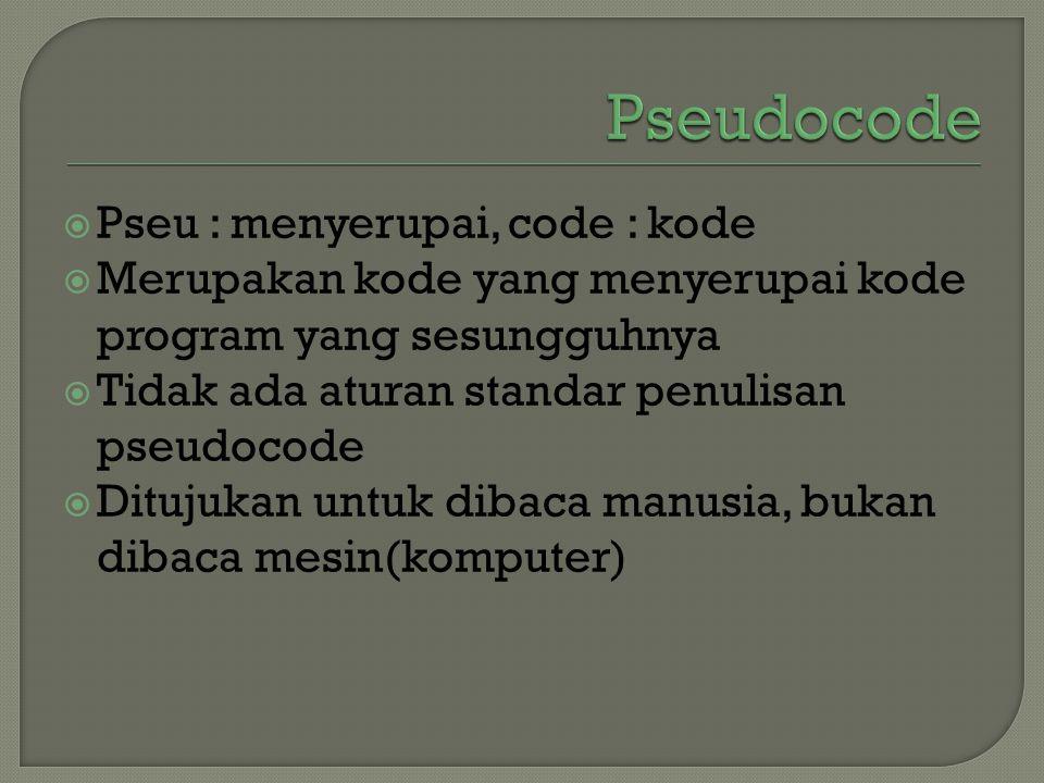 Pseudocode Pseu : menyerupai, code : kode