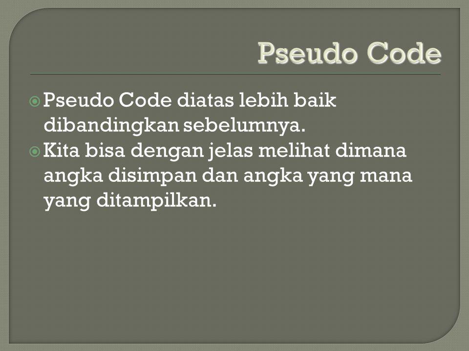 Pseudo Code Pseudo Code diatas lebih baik dibandingkan sebelumnya.