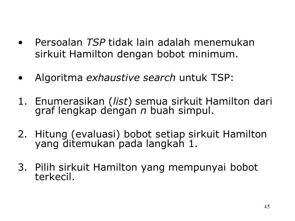 Persoalan TSP tidak lain adalah menemukan sirkuit Hamilton dengan bobot minimum.