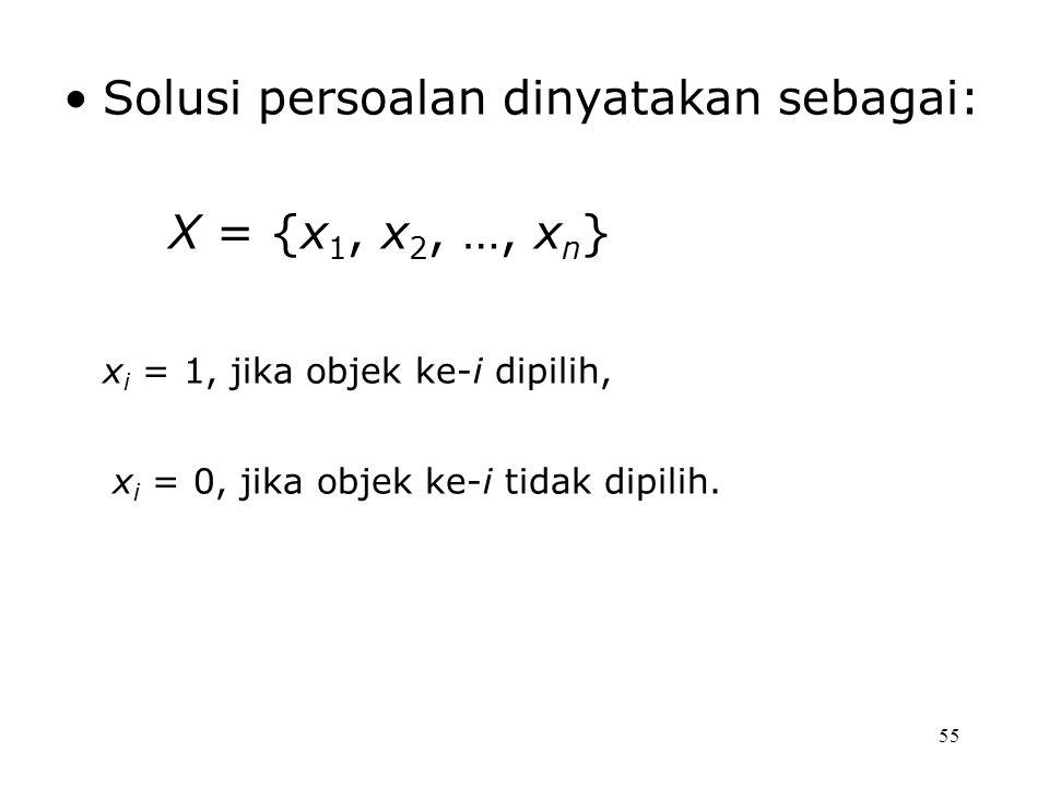 Solusi persoalan dinyatakan sebagai: X = {x1, x2, …, xn}