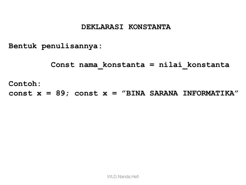 Const nama_konstanta = nilai_konstanta Contoh: