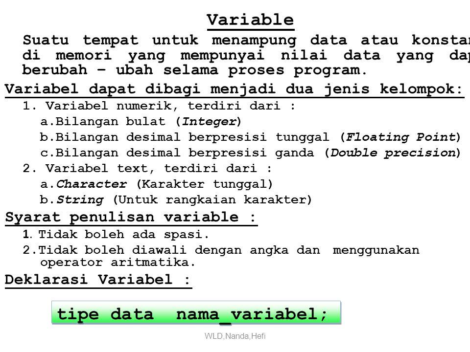 tipe data nama_variabel;