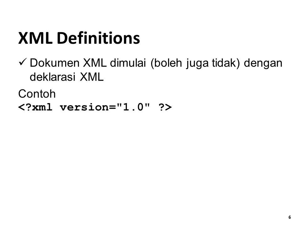 XML Definitions Dokumen XML dimulai (boleh juga tidak) dengan deklarasi XML.