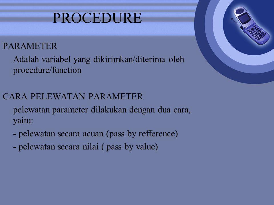 PROCEDURE PARAMETER. Adalah variabel yang dikirimkan/diterima oleh procedure/function. CARA PELEWATAN PARAMETER.