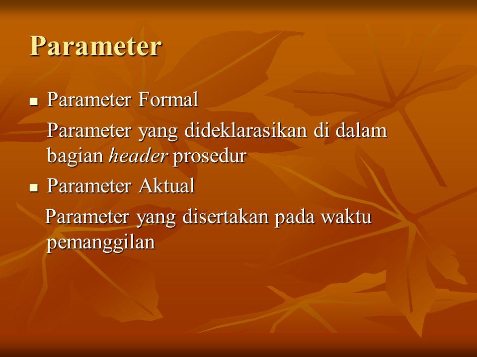 Parameter Parameter Formal