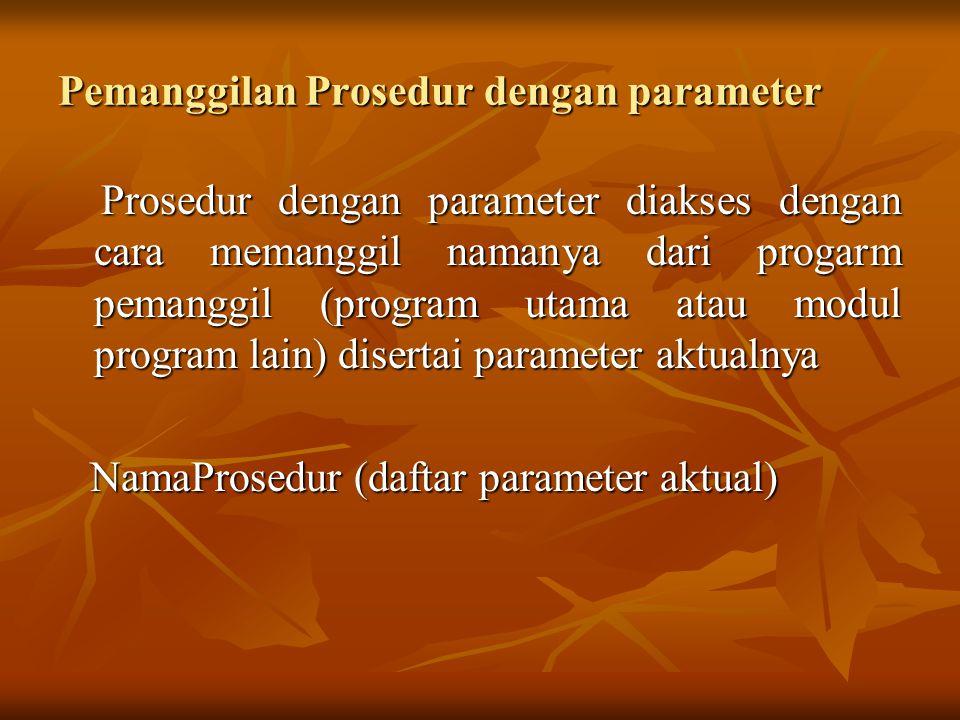 Pemanggilan Prosedur dengan parameter