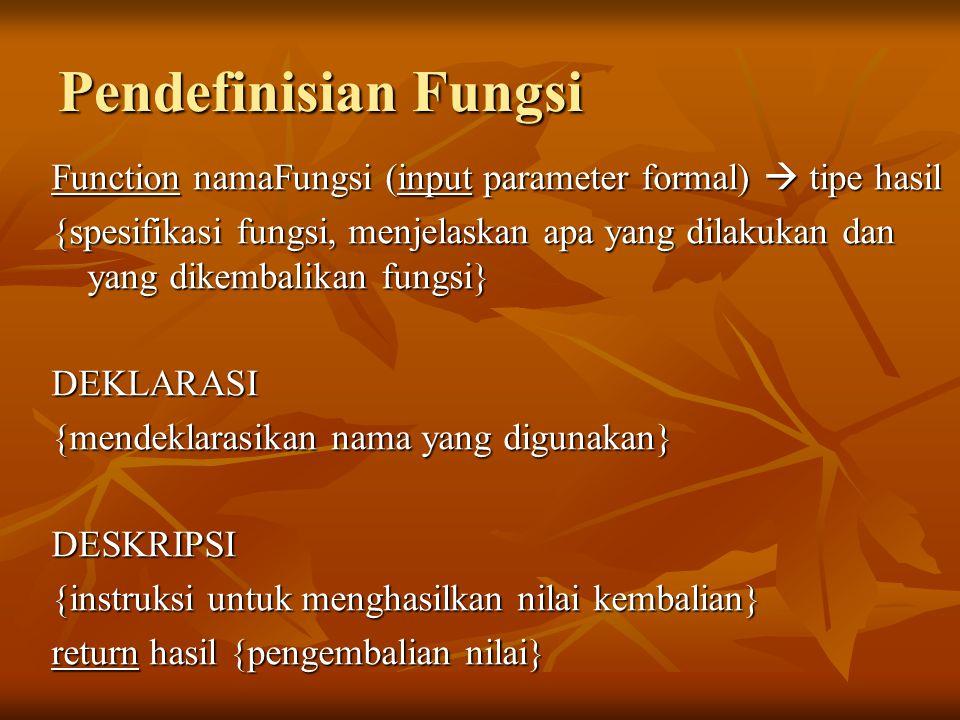 Pendefinisian Fungsi Function namaFungsi (input parameter formal)  tipe hasil.
