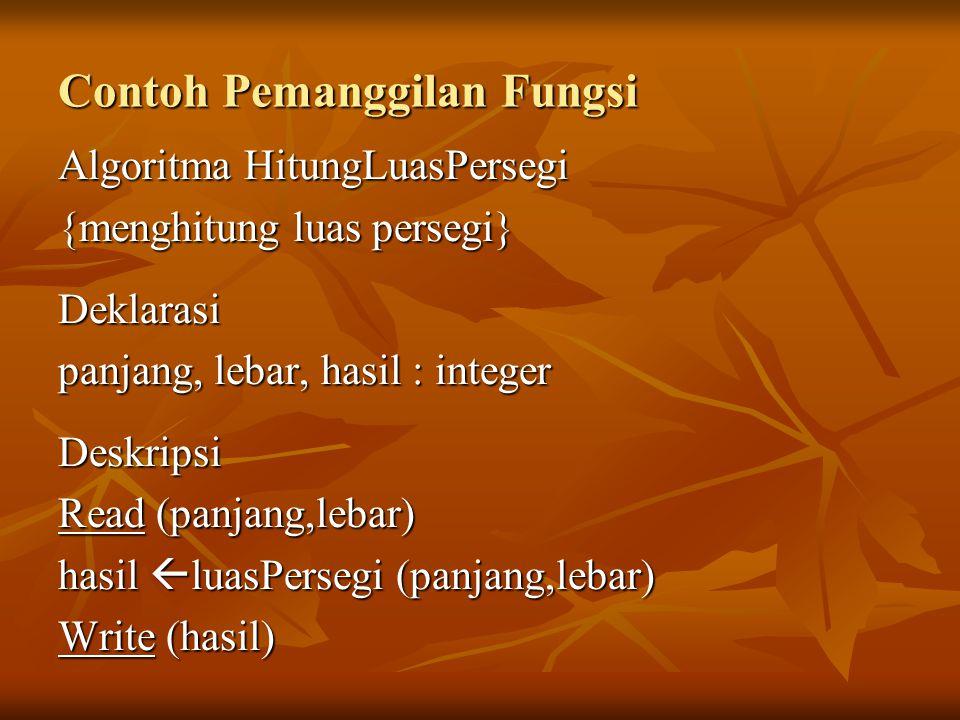 Contoh Pemanggilan Fungsi