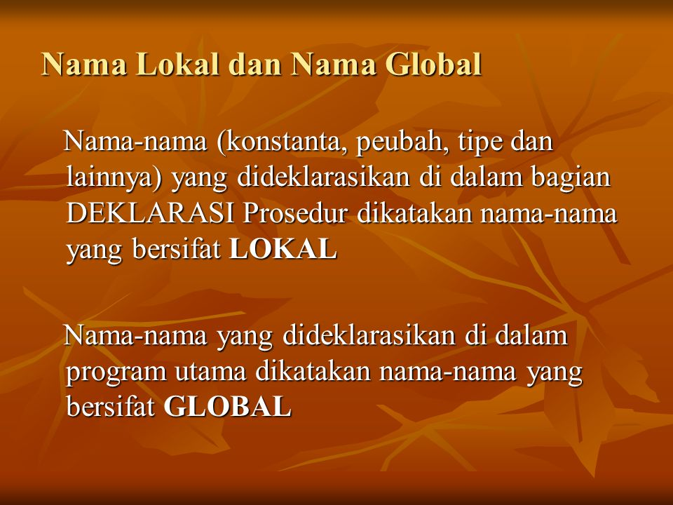 Nama Lokal dan Nama Global