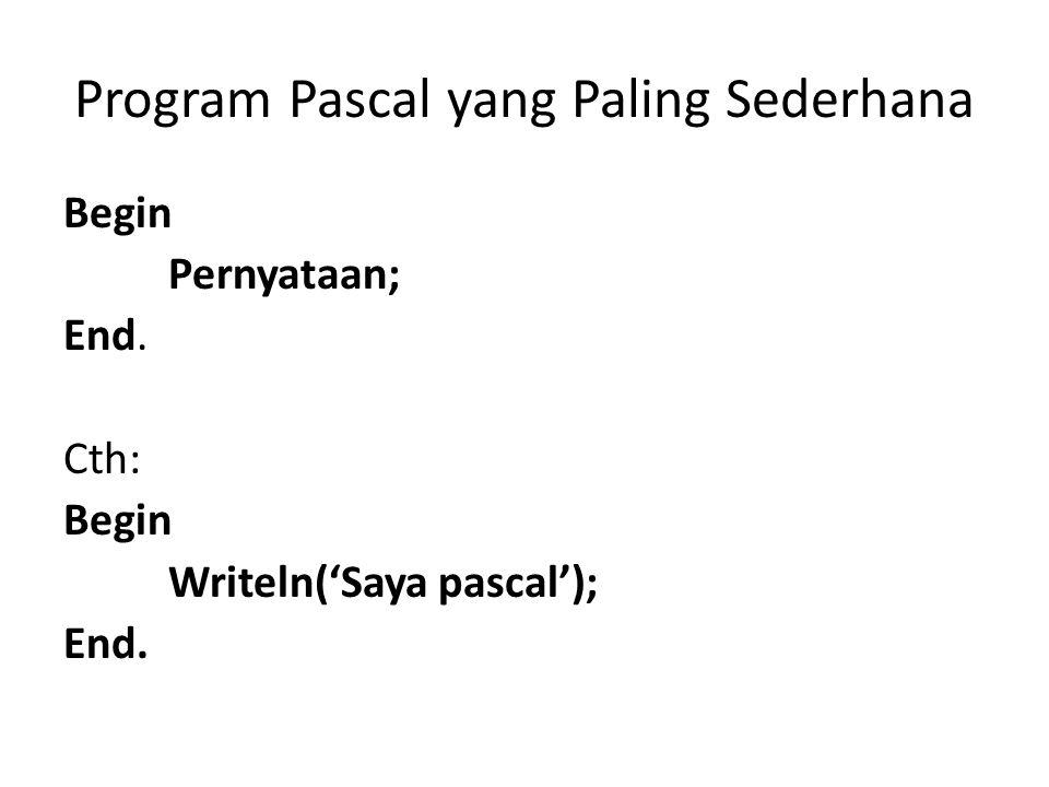 Program Pascal yang Paling Sederhana