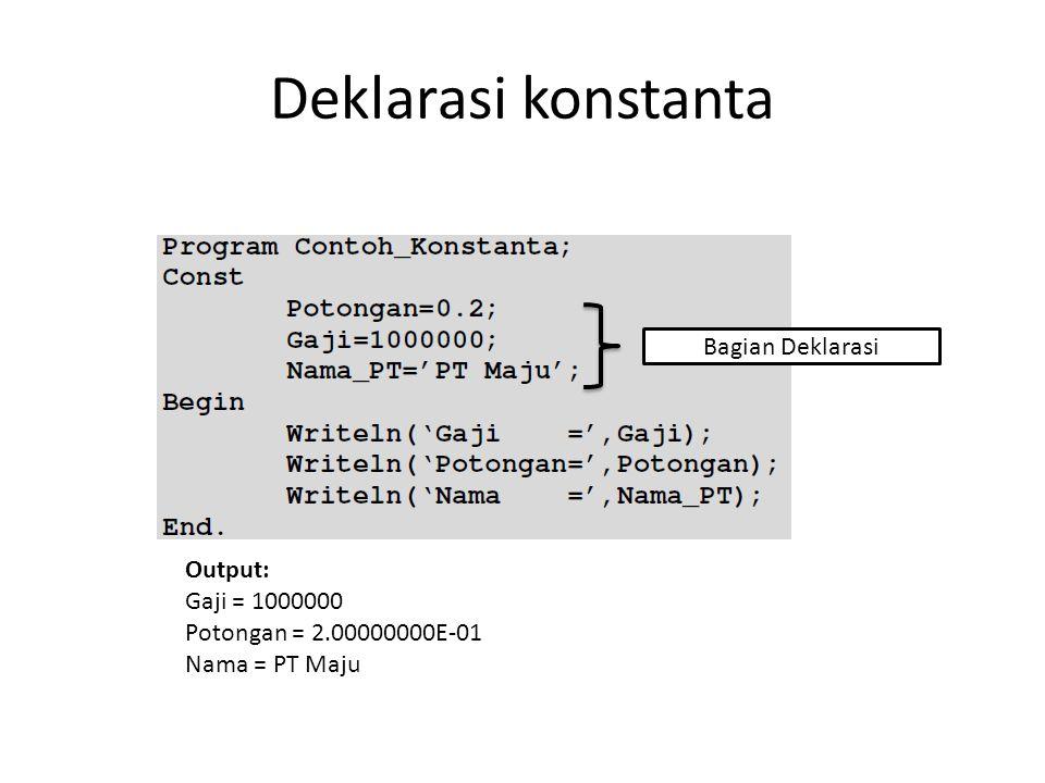 Deklarasi konstanta Bagian Deklarasi Output: Gaji = 1000000