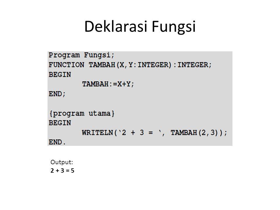 Deklarasi Fungsi Output: 2 + 3 = 5