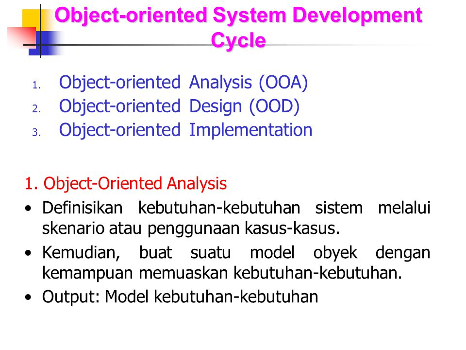 Object-oriented System Development Cycle