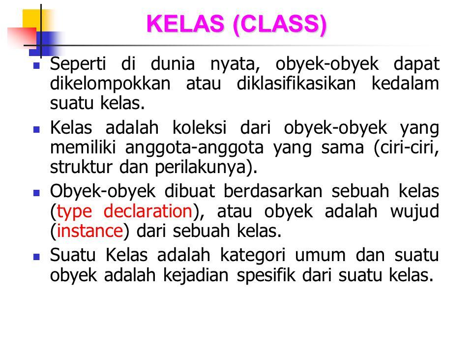 KELAS (CLASS) Seperti di dunia nyata, obyek-obyek dapat dikelompokkan atau diklasifikasikan kedalam suatu kelas.