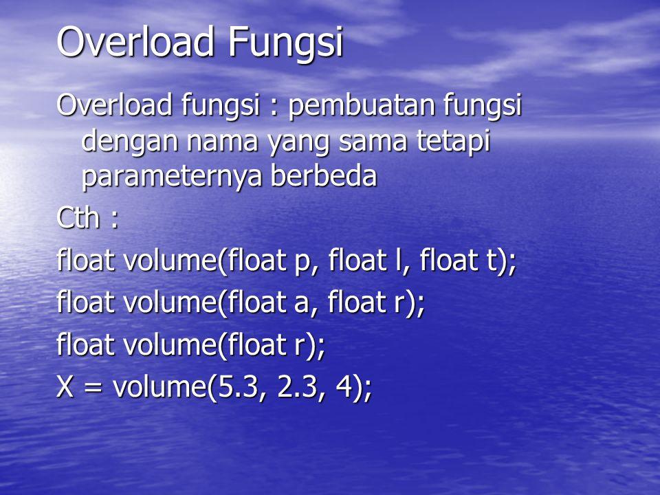 Overload Fungsi Overload fungsi : pembuatan fungsi dengan nama yang sama tetapi parameternya berbeda.