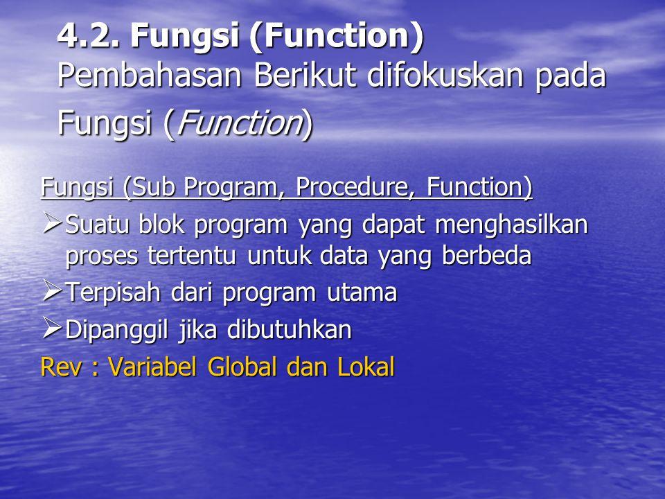 4.2. Fungsi (Function) Pembahasan Berikut difokuskan pada Fungsi (Function)