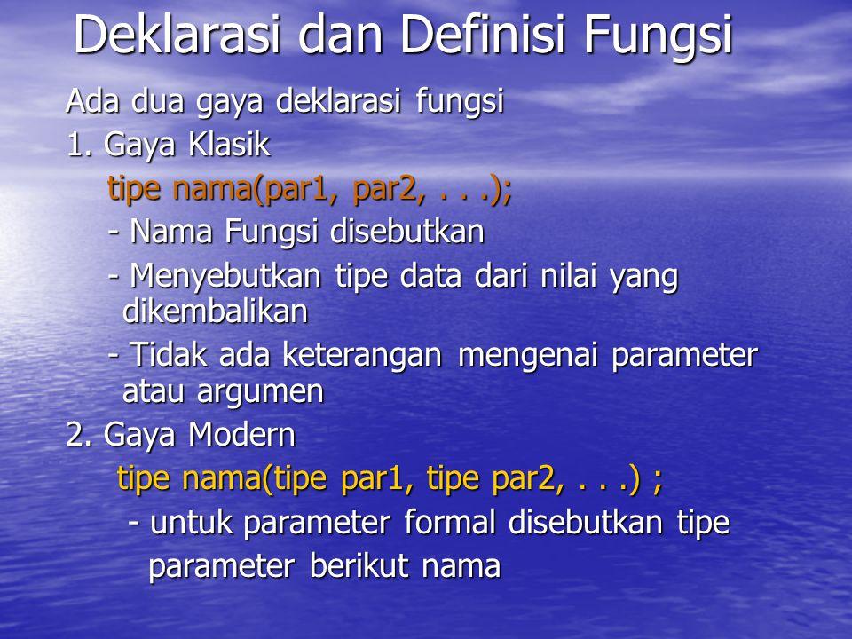 Deklarasi dan Definisi Fungsi