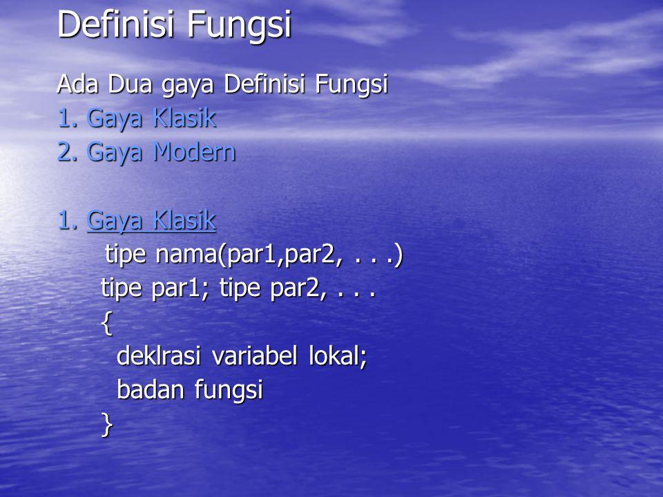 Definisi Fungsi Ada Dua gaya Definisi Fungsi 1. Gaya Klasik