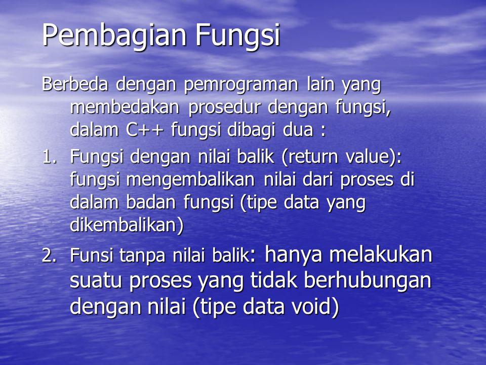 Pembagian Fungsi Berbeda dengan pemrograman lain yang membedakan prosedur dengan fungsi, dalam C++ fungsi dibagi dua :