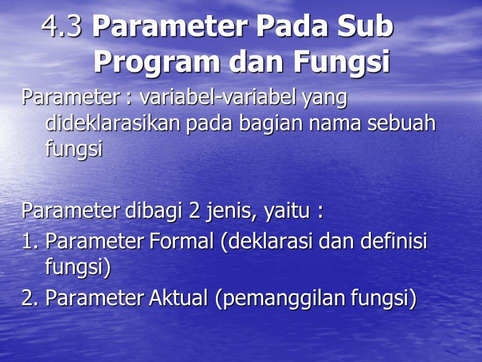 4.3 Parameter Pada Sub Program dan Fungsi
