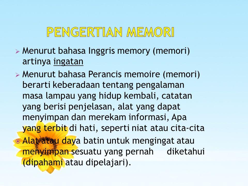 PENGERTIAN MEMORI Menurut bahasa Inggris memory (memori) artinya ingatan.