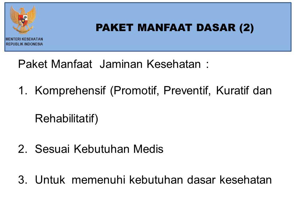 Paket Manfaat Jaminan Kesehatan :